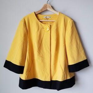 Peter Nygard Yellow Black Coat Jacket Size 14